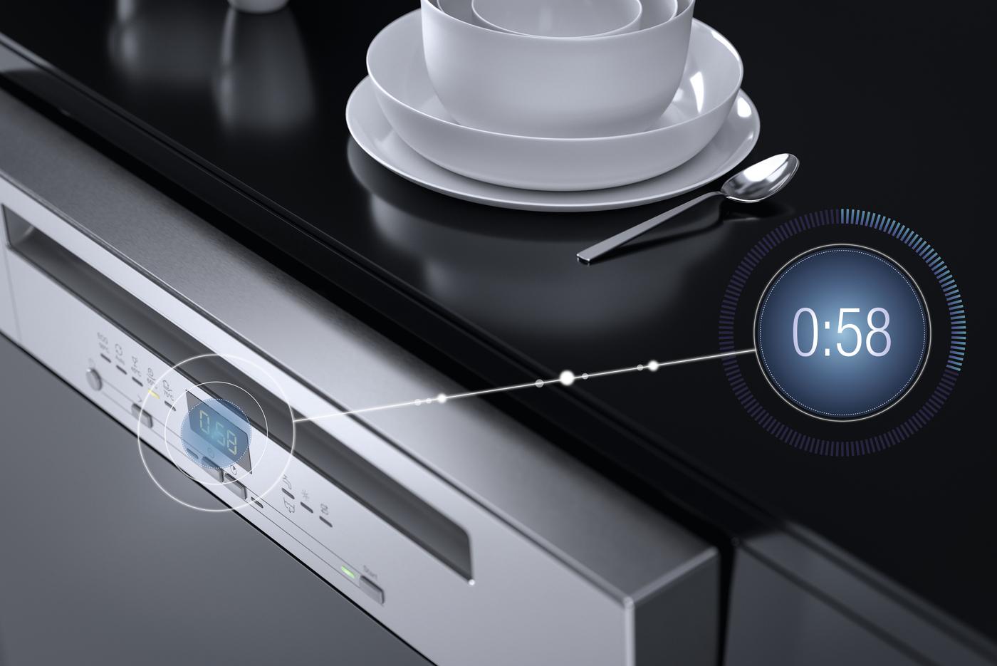 Чистая посуда всего за 58 минут – результат совместной работы программы QuickPowerWash и таблеток Ultra Tabs All in 1.