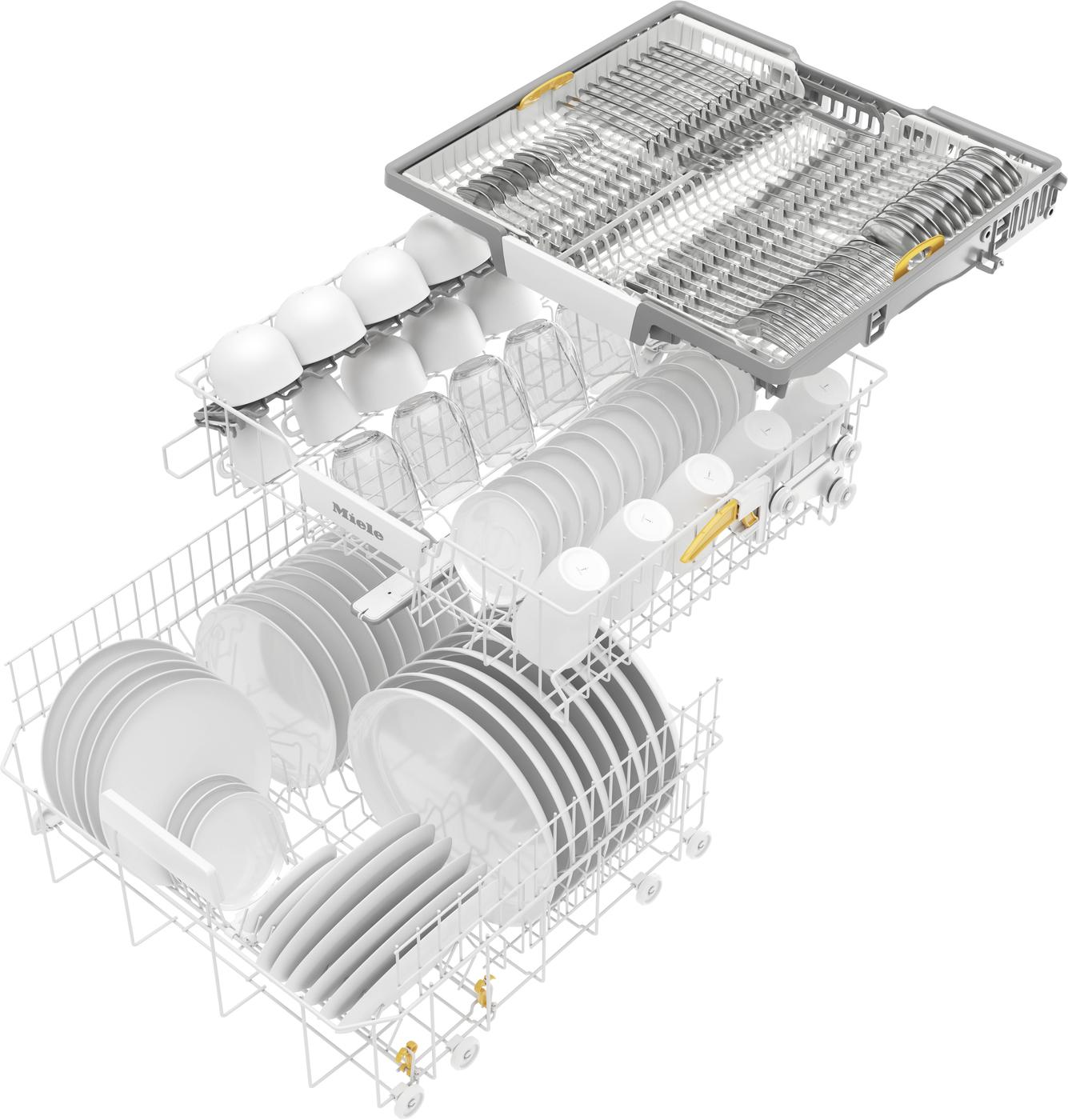 Удобно и надёжно можно разместить крупные и мелкие предметы посуды в коробах FlexLine и запатентованном поддоне для столовой посуды 3D MultiFlex (в зависимости от модели).